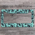Camo black teal charcoal pattern front car frame