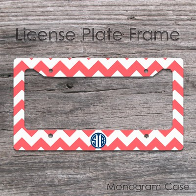 Circle monogrammed coral white chevron tag