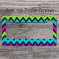 Colorful chevron navy magenta lime turquoise customized car frame