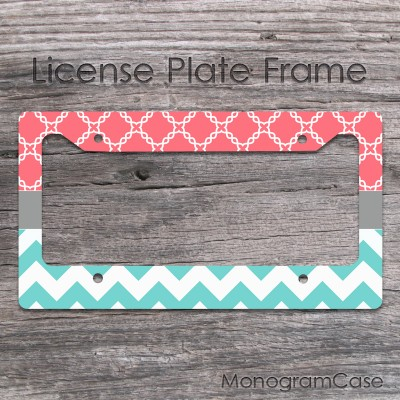 Coral and light teal chevron customized car frame