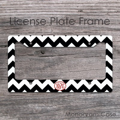 Coral vine monogrammed black and white chevron car frame