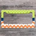 Custom tangerine chevron green clovers pattern license frame