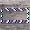 Elegant multicolor modern chevron monogrammed car tag