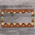 Persian pattern egyptian colors design car license frame