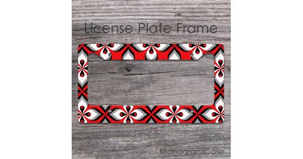 Red And Black Retro Design License Plate Frame Monogramcase