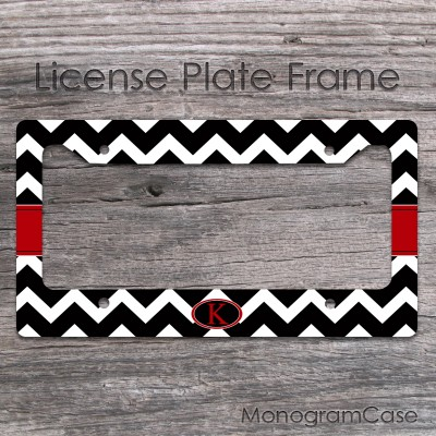Stylish black and red chevron monogrammed car frame