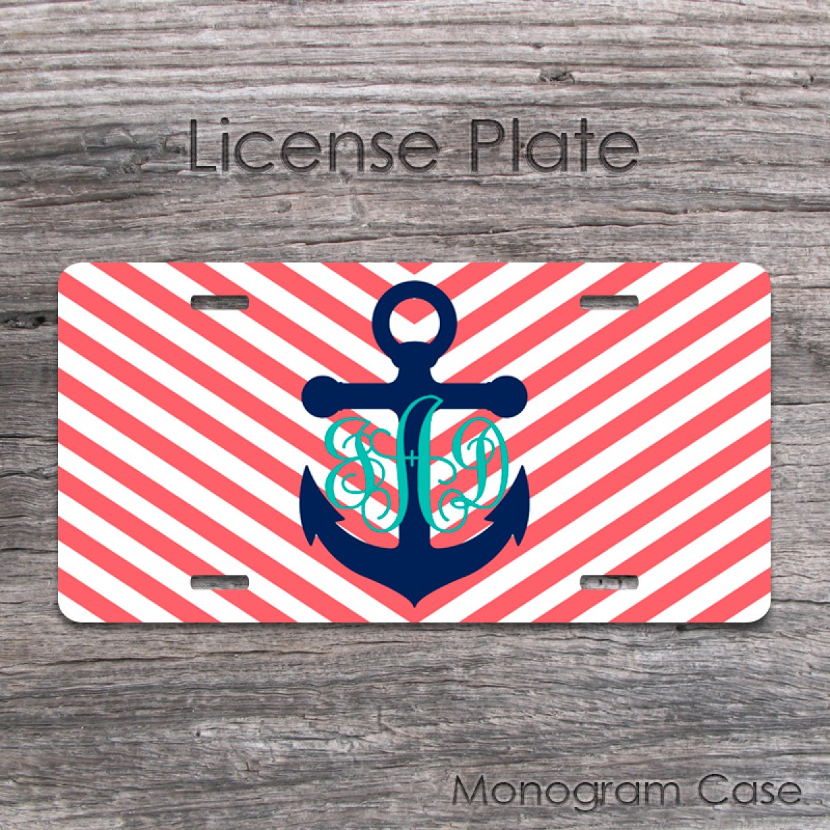 anchor navy coral chevron vine monogrammed car plate