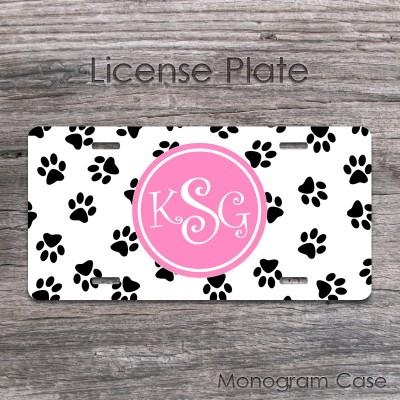 Animal print license plate pink monogrammed label design
