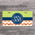 Apple green clovers tangerine chevron white monogram car plate