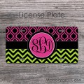 Apple green hot pink moroccan chevron design personalized car tag