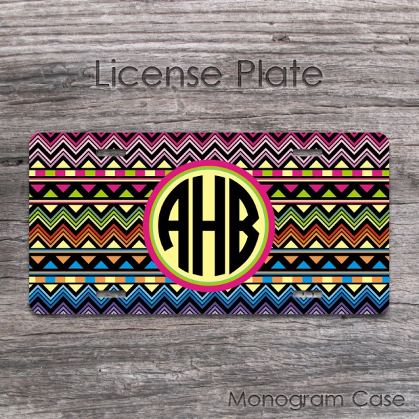 Aztec geometric colorful pattern monogrammed front tag