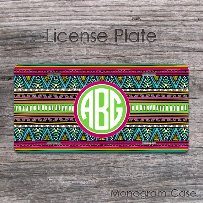 Aztec pattern boho chic monogrammed license tag