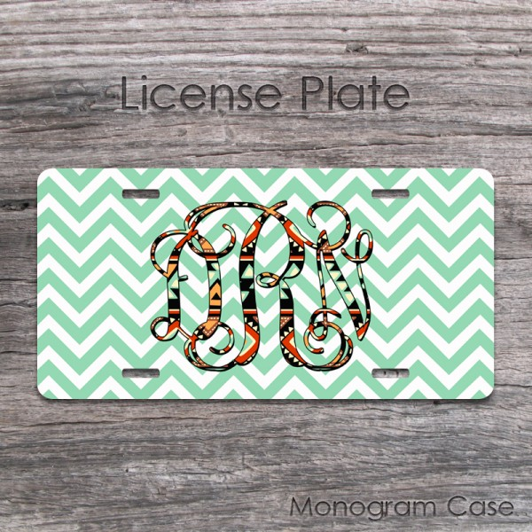 Aztec southwestern monogram green chevron birthday gift