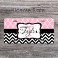 Baby pink morrocan pattern black chevron favourite car tag