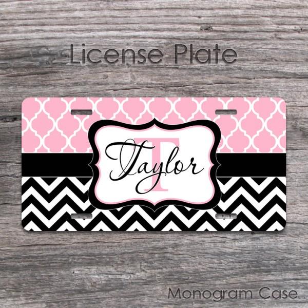Baby pink morrocan pattern black chevron favourite car tag