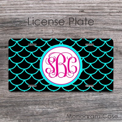 Black aqua blue lace pattern hot pink monogram license tag