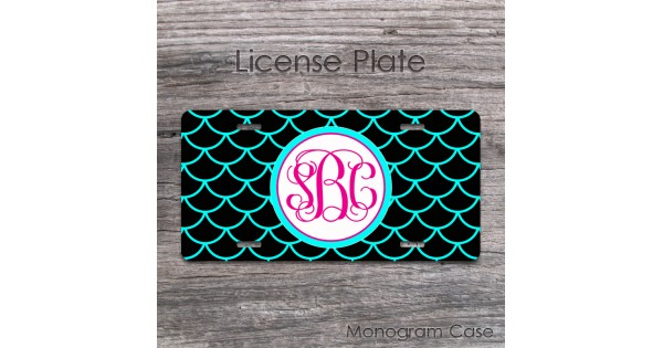 lace pattern in aqua blue and black hot pink monogram license tag