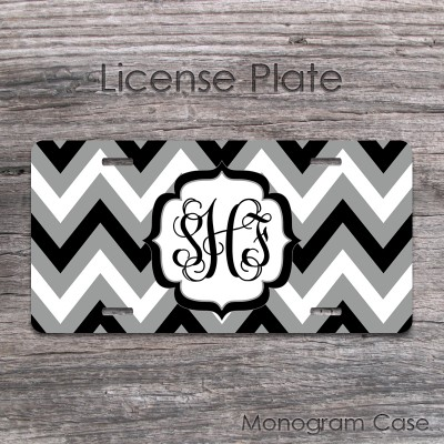 Black grey white bold chevron pattern front car tag