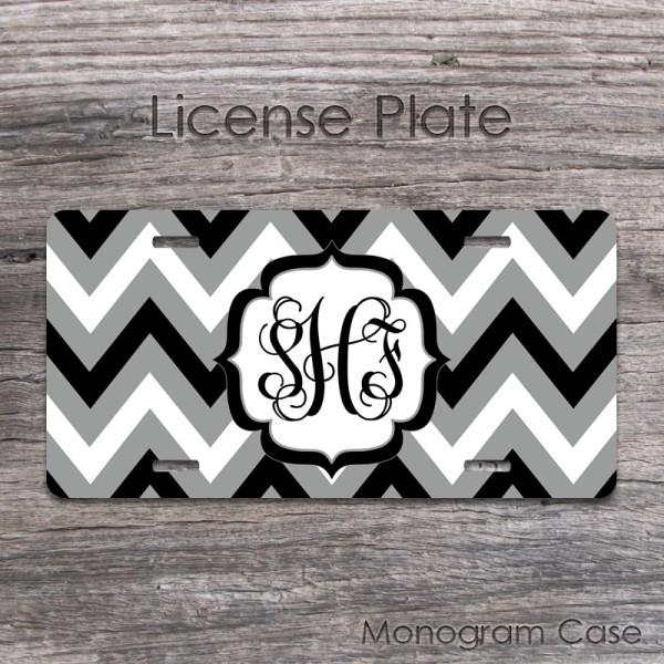 Black grey white bold chevron pattern front car tag
