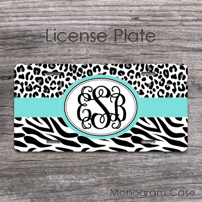 Black white cheetah zebra print aquamarine monogram front license plate