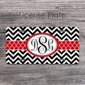 Black white chevron stylish red ribbon monogram auto tag