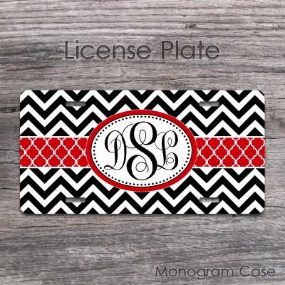Black white chevron stylish red ribbon monogram auto tag