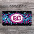 Bokeh blue hot pink black retro personalized front license plate