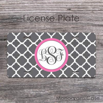 Charcoal quatrefoil pattern pink label custom auto tag