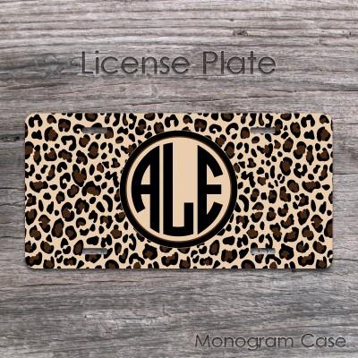 Cheetah pattern animal print monogrammed front tag