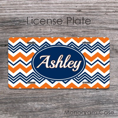 Chevron navy blue orange customized license tag