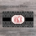 Classical damask license tag black gray red monogrammed