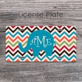 Colorful slim chevron monogrammed teal elephant car tag