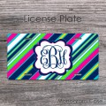 Colorful stripes modern design monogrammed front license plate