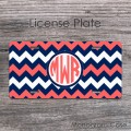 Coral and NAVY blue chevron design monogrammed car tag