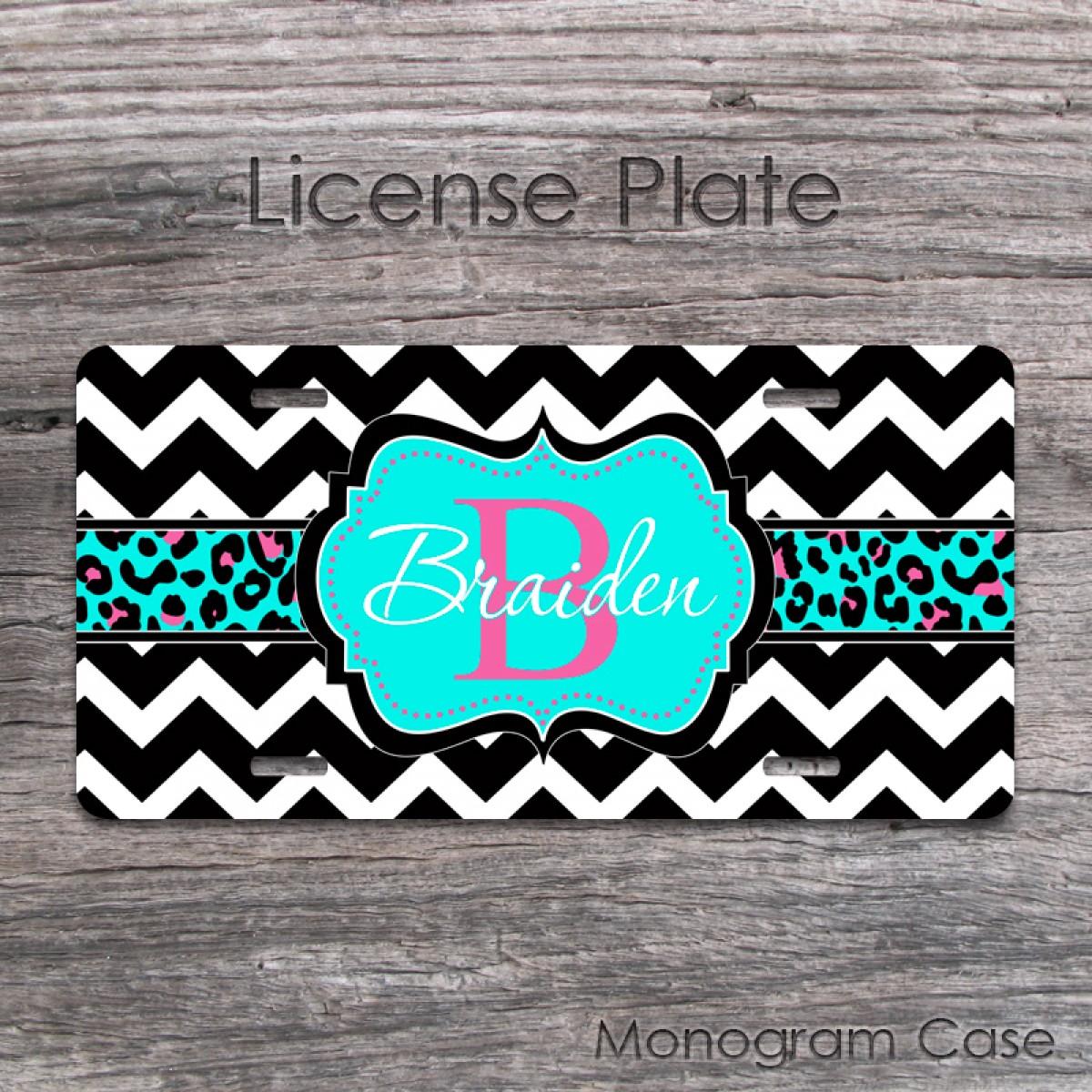 Custom license plate aqua pink animal print   MonogramCase