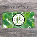 Custom name tropical leaves license plate