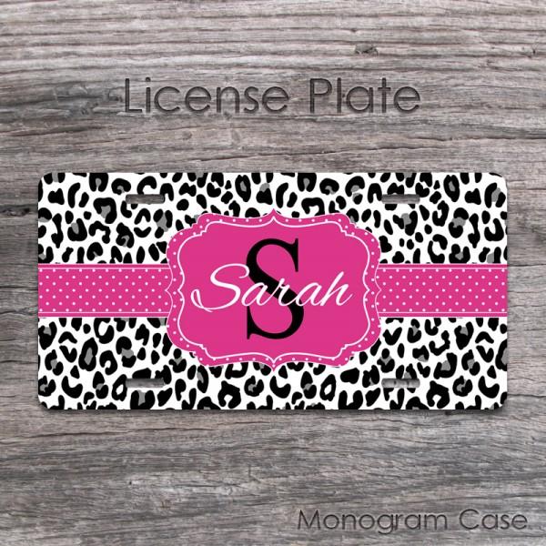 Cute cheetah fuchsia polkadots monogram preppy front car tag