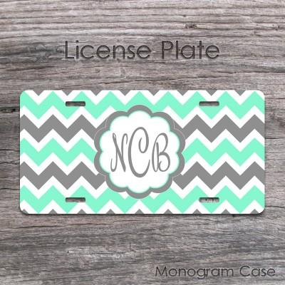 Cute mint grey chevron front license plate