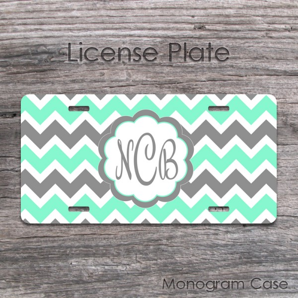 Mint And Charcoal Grey Chevron Front License Plate