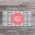 Dark grey style moroccan pattern coral monogram car tag