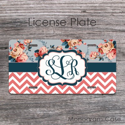 Vintage roses design and coral chevron car plate