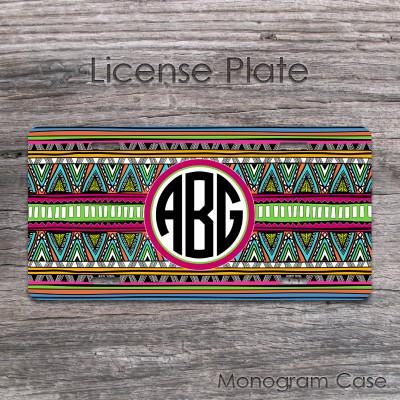 Ethnic tribal design navaho inspired car plate