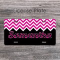 pink design customized name hotpink black license car tag