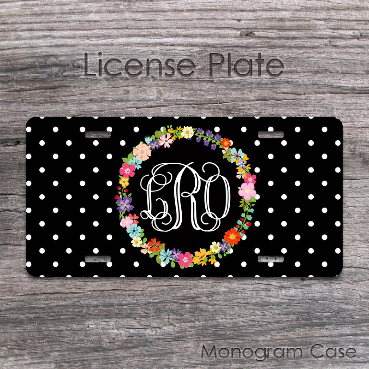 a803d4ae2 Floral wreath and monogram front car tag design| MonogramCase
