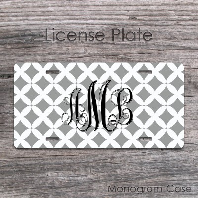 Front license plate gray diamonds monogrammed
