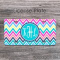 Ikat colorful chevron pattern personalized car tag