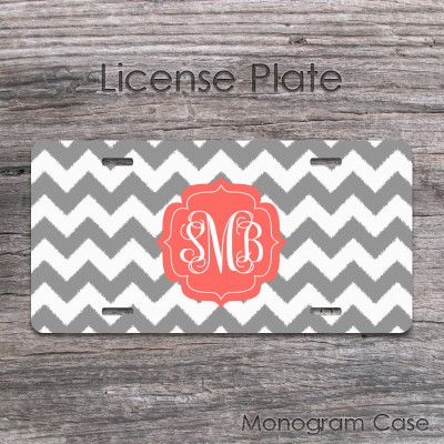 Ikat gray chevron coral label monogram tag
