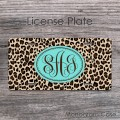 Ikat leopard animal print personalized monogrammed car tag