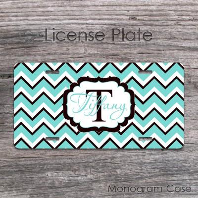 Light blue black white chevron customized license plate