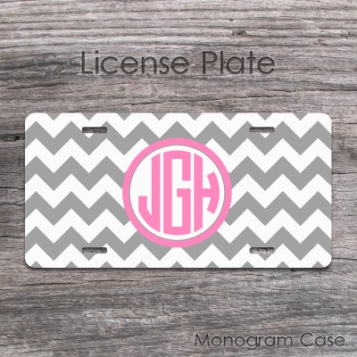 Light gray pink chevron circle monogram license plate